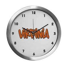 Virginia Graffiti Modern Wall Clock