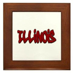Illinois Graffiti Framed Tile