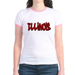 Illinois Graffiti Junior Ringer T-Shirt