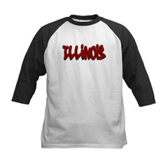 Illinois Graffiti Kids Baseball Jersey T-Shirt