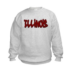 Illinois Graffiti Kids Crewneck Sweatshirt by Hanes