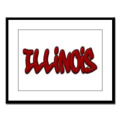 Illinois Graffiti Large Framed Print