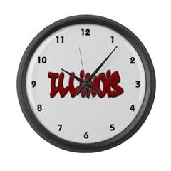 Illinois Graffiti Large Wall Clock