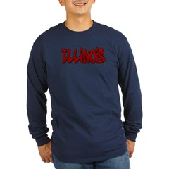 Illinois Graffiti Long Sleeve Dark T-Shirt