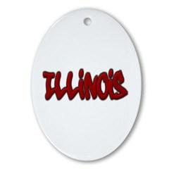 Illinois Graffiti Ornament (Oval)