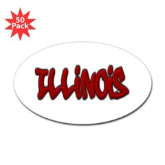 Illinois Graffiti Oval Decal 50 Pack