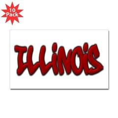 Illinois Graffiti Rectangle Decal 10 Pack