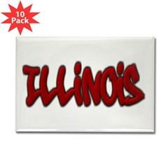 Illinois Graffiti Rectangle Magnet (10 pack)