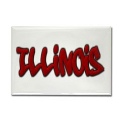 Illinois Graffiti Rectangle Magnet