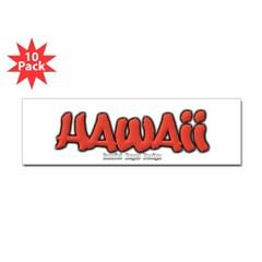 Hawaii Graffiti Bumper Sticker 10 Pack