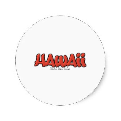 Hawaii Graffiti Classic Round Sticker