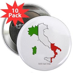 """Italy Flag Map 2.25"""" Button (10 pack)"""