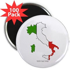 """Italy Flag Map 2.25"""" Magnet (100 pack)"""