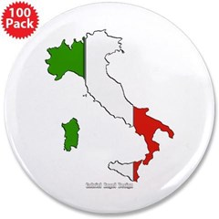 """Italy Flag Map 3.5"""" Button (100 pack)"""