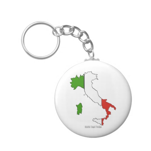 Italy Flag Map Basic Button Keychain