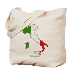 Italy Flag Map Canvas Tote Bag