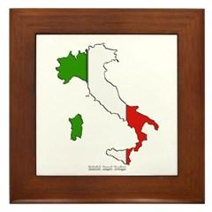 Italy Flag Map Framed Tile