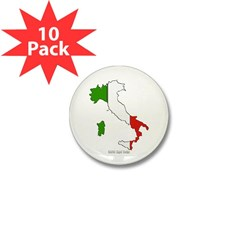 Italy Flag Map Mini Button (10 pack)