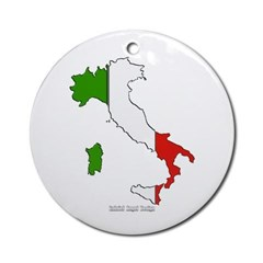 Italy Flag Map Ornament (Round)