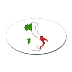 Italy Flag Map Oval Decal