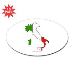 Italy Flag Map Oval Sticker (10 pk)