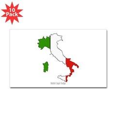 Italy Flag Map Rectangle Sticker 10 pk)