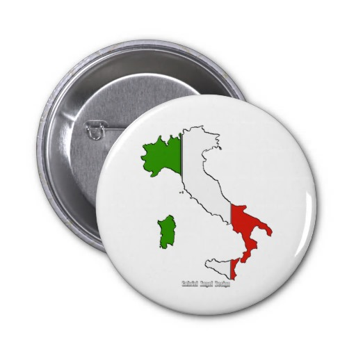 Italy Map Flag 2 Inch Round Button