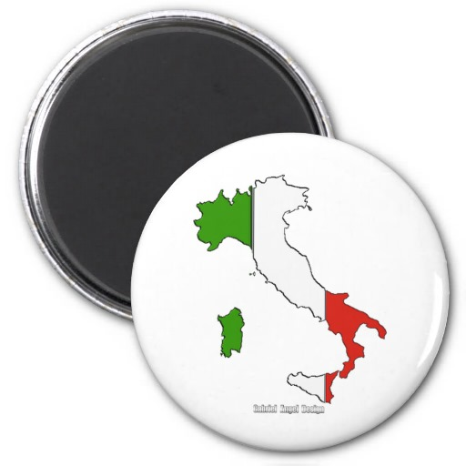 Italy Map Flag 2 Inch Round Magnet