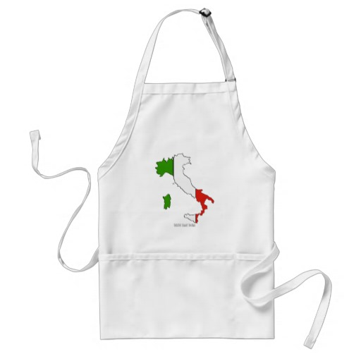 Italy Map Flag Adult Apron