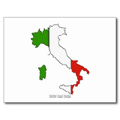 Italy Map Flag Postcard
