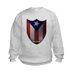 Puerto Rican Shield Kids Crewneck Sweatshirt by Hanes