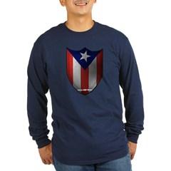 Puerto Rican Shield Long Sleeve Dark T-Shirt