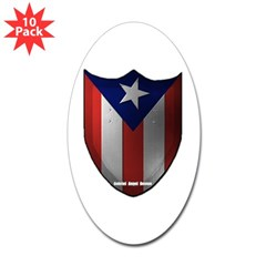 Puerto Rican Shield Oval Sticker (10 pk)