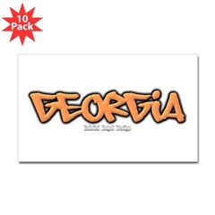 Georgia Graffiti Rectangle Decal 10 Pack