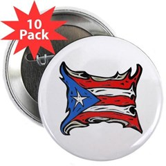 "Puerto Rico Heat Flag 2.25"" Button (10 pack)"