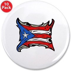 "Puerto Rico Heat Flag 3.5"" Button (10 pack)"