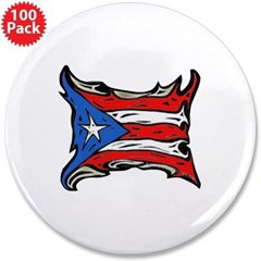 "Puerto Rico Heat Flag 3.5"" Button (100 pack)"