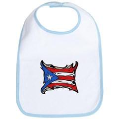 Puerto Rico Heat Flag Baby Bib