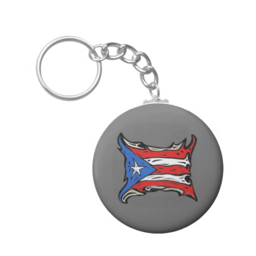 Puerto Rico Heat Flag Basic Button Keychain