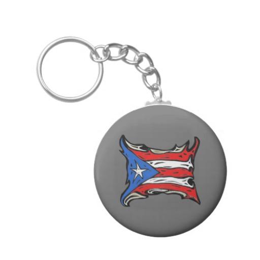 Puerto Rico Heat Flag Basic Button Keychain