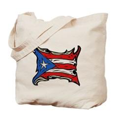 Puerto Rico Heat Flag Canvas Tote Bag