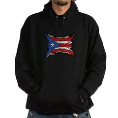 Puerto Rico Heat Flag Dark Hooded Sweatshirt