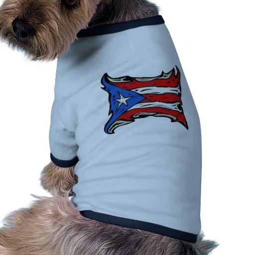 Puerto Rico Heat Flag Doggie Ringer T-Shirt