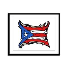 Puerto Rico Heat Flag Framed Panel Print