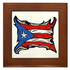Puerto Rico Heat Flag Framed Tile