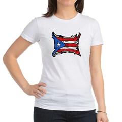 Puerto Rico Heat Flag Junior Jersey T-Shirt