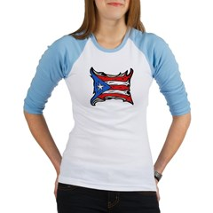 Puerto Rico Heat Flag Junior Raglan T-shirt
