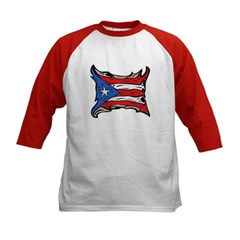 Puerto Rico Heat Flag Kids Baseball Jersey T-Shirt