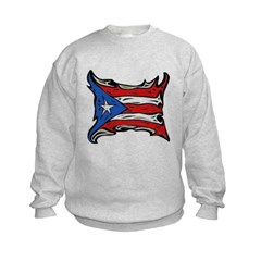 Puerto Rico Heat Flag Kids Crewneck Sweatshirt by Hanes