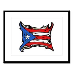 Puerto Rico Heat Flag Large Framed Print